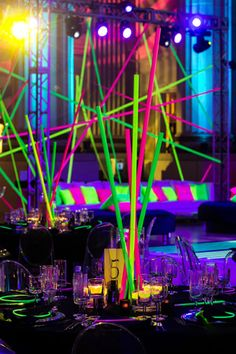 See How Lasers Inspired the Neon Look of a Bat Mitzvah Neon Birthday, Baseball Birthday, Baseball Party, Birthday Stuff, 16th Birthday, Neon Party, 80s Party, Disco Party, Luau Party