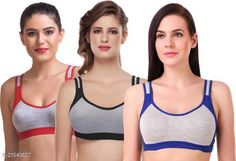 Checkout this latest Bra Product Name: *Women Non Padded Sports Bra* Fabric: Cotton Print or Pattern Type: Self-Design Padding: Non Padded Type: Sports Bra Wiring: Non Wired Seam Style: Seamless Multipack: 3 Add On: Hooks Sizes: 28B (Underbust Size: 26 in, Overbust Size: 30 in)  30B (Underbust Size: 28 in, Overbust Size: 32 in)  32B (Underbust Size: 30 in, Overbust Size: 34 in)  34B (Underbust Size: 32 in, Overbust Size: 36 in)  36B (Underbust Size: 34 in, Overbust Size: 38 in)  38B (Underbust Size: 36 in, Overbust Size: 40 in)  40B (Underbust Size: 38 in, Overbust Size: 42 in)  Country of Origin: India Easy Returns Available In Case Of Any Issue   Catalog Rating: ★3.9 (1197)  Catalog Name: Women Non Padded Sports Bra CatalogID_4552439 C79-SC1409 Code: 072-21540627-999