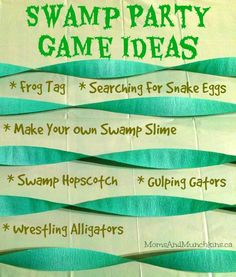 These silly & creative swamp party games are all very easy for you to set up at home. The kids will love wrestling alligators and searching for snake eggs!