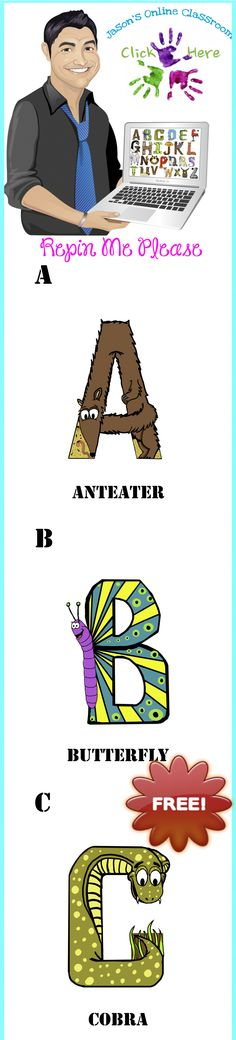 Free Alphabet Animal Letter Flashcards by Jeanette Baker Unique and custom created animal themed English alphabet by Jeanette Baker. All images are custom designed for your classroom use! Please REPIN ME!