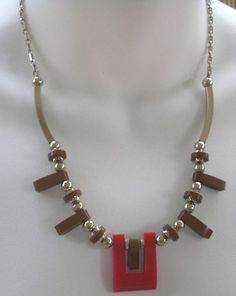 Jakob Bengel Germany Red & Brown Galalith & Chrome Necklace