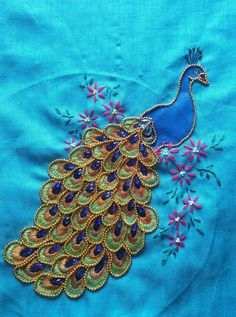 Zardosi Embroidery, Hand Embroidery Videos, Hand Embroidery Flowers, Hand Work Embroidery, Hand Embroidery Stitches, Beaded Embroidery, Peacock Embroidery Designs, Diy Embroidery Patterns, Embroidery Suits Design