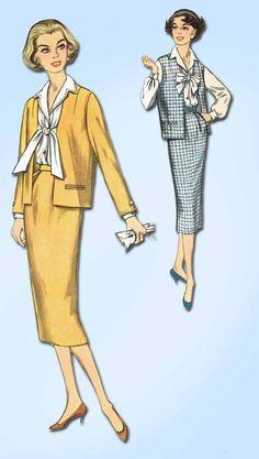 1950s Vintage Simplicity Sewing Pattern 2385 Uncut Misses Suit Size 12 32 Bust