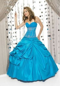 Ball Gown Sweetheart Strapless Floor-length in Taffeta Quinceanera Dress
