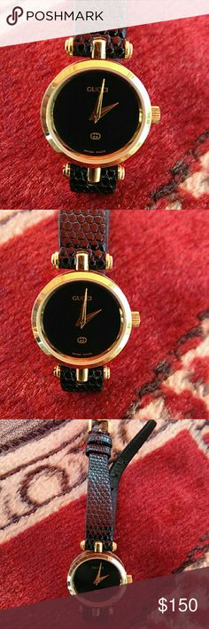 Vintage Gucci ladies watch In excellent running condition with original leather band and buckle Gucci Other