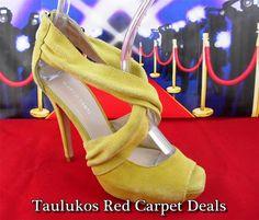 Womens shoes MARCO SANTI Chartreuse Suede LEATHER Stilettos Platfom Sandals 6 m #MarcoSanti #PlatformPumps