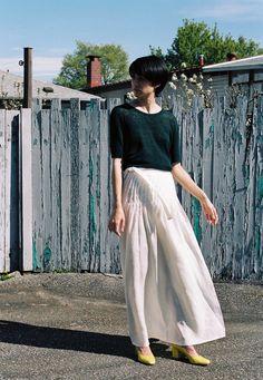 Luisa Et La Luna Julia Skirt, worn with DemyLee Sonia Tee, & Maryam Nasir Zadeh Maryam Heels