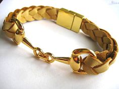 Thick Braided Natural Buckskin Leather Bracelet with Gold Equestrian Snaffle Bit and Gold Plated Magnetic Clasp  by BeachSideLeathers, $18.99