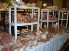 Pink depression glass...sweet