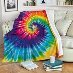 Tie-Dye Geometric Spirals Flower Large Fleece Adult Throw Blanket with Sleeves
