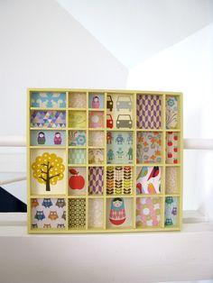 Setzkasten restauriert mit bunter Tapete // Wooden case with colorful paper by tinkelchen via DaWanda.com