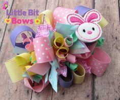 Pastel Easter Bunny Feltie Boutique Funky Bow by LittleBitBows, $11.99