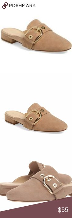 NIB Michael Kors Cooper Slide In Khaki color Round toe  - Suede construction  - Adjustable vamp strap with buckle closure - Slip-on  - Lightly padded footbed - Stacked sole - Imported Suede upper, synthetic lining, and sole Michael Kors Shoes Mules & Clogs