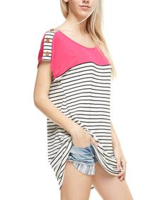 Look what I found on #zulily! Coral Stripe Colored-Yoke Tunic #zulilyfinds