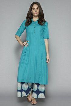 Utsa by Westside Teal Solid Kurta Salwar Designs, Kurta Designs Women, Kurti Designs Party Wear, Blouse Designs, Color Combinations For Clothes, Kurta Patterns, Kurta Style, Indian Designer Suits, Indian Attire