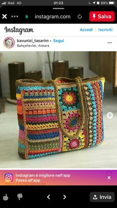 Crochet Pillow Patterns Free, Crochet Mandala Pattern, Vintage Crochet Patterns, Knitting Patterns, Crochet Square Blanket, Crochet Poncho, Crochet Handbags, Crochet Purses, Crochet Market Bag
