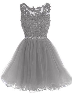 Women Floral Crochet Tulle Sexy A Line Party Dress - Gray, XS Source by dresses for teens short Homecoming Dresses 2017, Cute Prom Dresses, Dresses For Teens, Pretty Dresses, Sexy Dresses, Beautiful Dresses, Quinceanera Dresses, Formal Dresses, Silver Dama Dresses