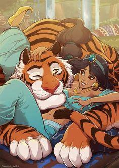 Jasmine and Rajah Best of Disney Art by Danusko (Dan)