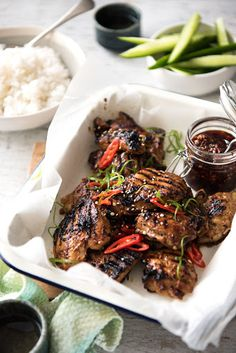 Here is a tasty Asian inspired recipe for grilled chicken recipe I love to make when the weather warms. Letting it marinade overnight gives you the best results. This marinade read Asian Marinade For Chicken, Asian Chicken Recipes, Chicken Marinades, Grilled Chicken Recipes, Marinated Chicken, Asian Recipes, Chicken Meals, Asian Foods, Bbq Chicken