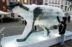 """A boy touches an ice sculpture of a polar bear as it melts to reveal a bronze skeleton in Copenhagen, Denmark, host city of the 15th United Nations Climate Change Conference, on December 8, 2009."""