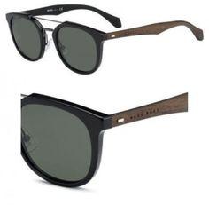 HUGO BOSS Men's 0777S 0777/S RAJ85 Black/Dark Brown Round Sunglasses 51mm