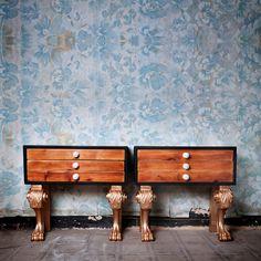 Night table Golden Legs Nightstand. Wooden night by PETULAPLAS