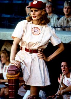 Geena Davis in A League of Their Own, 1992, I love this movie so much its insane. These women were so inspirational to me as a little girl. I want to learn to sew so I can make one of those uniforms!