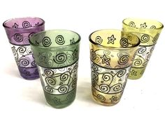 Moroccan 4 Pc. Tea Multicolor Artisan  Glasses Set Decorated Glass Cup Shot Wine #NatalyStyle