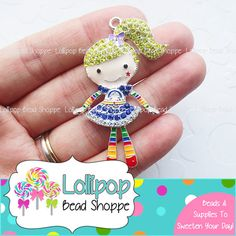 56mm RAINBOW BRITE Rhinestone Pendant Blonde Girl Chunky Necklace Pendant Rainbow Bling Crystal Bubblegum Beads Bubble Gum Beads RP07