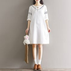 Real Photo  Dress Women ] spring art RETRO T-shirt sale lace embroidery cotton  Casual Dresses