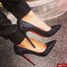 shoes christian louboutin blac spike high heels