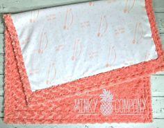 Baby Blanket Be Brave Little One Designer Minky Coral