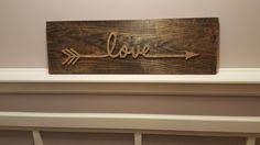 Custom color Love Arrow String Art Sign by BoatMade on Etsy String Crafts, String Art Patterns, Thread Art, Idee Diy, Pin Art, Pallet Art, Crafty Craft, Crafting, Craft Night