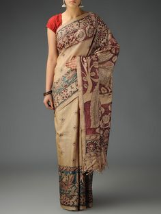 Buy Beige Black Maroon Tussar Silk Hand Painted Kalamkari Saree Sarees Printed Narratives Concept and Stoles in Art Online at Jaypore.com