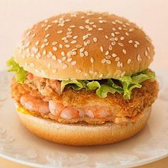 McDonald's Japan: The Ebi Filet-O is a shrimp burger: Penaeus Vannamei/whiteleg shrimp, Ebi sauce (shrimp tempura sauce), mustard, & lettuce    #mcdonalds #McDonald's