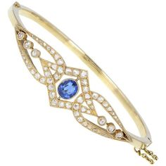 Preowned Antique Victorian Blue Sapphire Rose-cut Diamond Yellow Gold... ($7,967) ❤ liked on Polyvore featuring jewelry, bracelets, bangles, yellow, gold bangles, yellow gold bangle bracelet, bangle bracelet, antique gold jewellery and diamond bracelet bangle