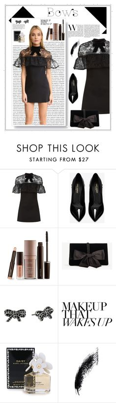 """Bows: Black on Black"" by niqueyboop ❤ liked on Polyvore featuring self-portrait, Oris, Yves Saint Laurent, Laura Mercier, Ann Taylor and Marc Jacobs"
