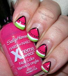 Wonderland Nails: Watermelon  #nail #nails #nailsart