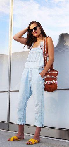 NSF denim overalls, Shoshanna swimsuit, Miss Mochila bag, yellow Ancient Greek sandals
