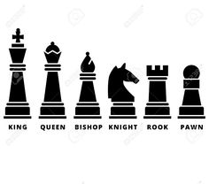 Set Of Chess Piece. Vector Icons In Black Silhouettes. King Queen ...