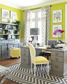 Hudson Home Office from Ballard Designs -   loving the yellow velvet!