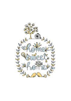 Home Sweet Home Art Print Pastel Color Animal by dekanimal