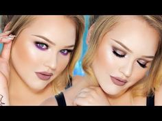Sparkly Taupe and Purple Smokey Eyes - Greige Lips Look - YouTube