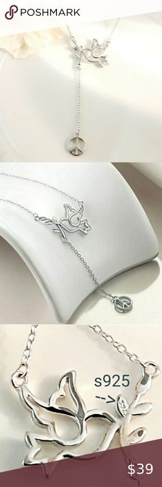 """Women 925 Sterling Silver Silver Olive Branch Leaf Chain Necklace 15-18/"""""""