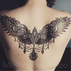 Bird tattoo by Miss Voodoo #MissVoodoo #ornamental #lace #mehndi #chandelier #feather #bird #wings