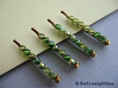 Set of 4 - Mini Mixed Green - Beaded Bobby Pins (Tiny-Size) by retro80s