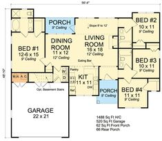 images about Home plans on Pinterest   House plans  Ranch    Plan W WM  Split Bedroom Ranch Home Plan   SQ