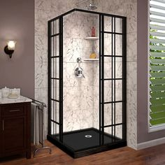 DreamLine French Corner Satin Black Floor Square Corner Shower Kit (Actual: x x at Lowe's. The DreamLine French Corner sliding shower enclosure is a perfect complement to a modern industrial bathroom style with a European vibe. The French Corner Corner Shower Kits, Corner Shower Enclosures, Corner Shower Stalls, Corner Showers, Small Shower Stalls, Small Space Bathroom, Modern Bathroom, Bathroom Ideas, Industrial Bathroom