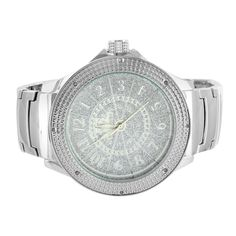 12 24 Hour Display White Gold Finish Diamond Watch Mens Ice Mania