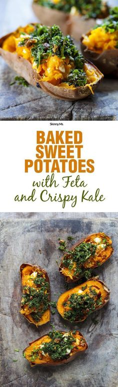 How to make this baked sweet potatoes with feta and crispy kale. Baked Sweet Potatoes with Feta and Crispy Kale--talk about superfoods! Sweet Potato Recipes Healthy, Healthy Recipes, Healthy Snacks, Vegetarian Recipes, Healthy Eating, Cooking Recipes, Dinner Healthy, Superfood Recipes, Kale Recipes
